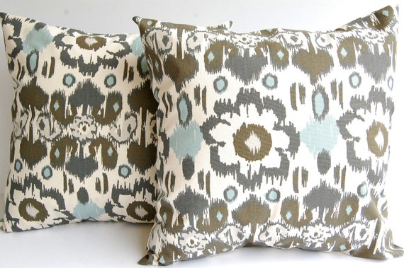 "Throw pillows set of two pillow covers 18"" x 18"" Smokey Blue and natural Rio"