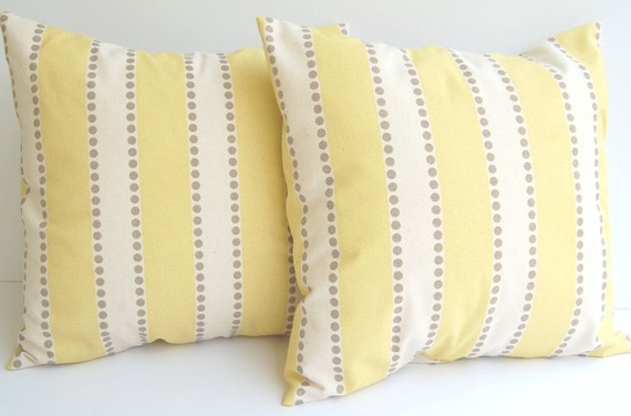 Decorative pillow covers set of two lemon yellow, taupe, and natural LuLu Stripe