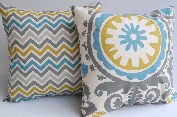 Throw pillow covers zoom zoom chevron stripe and Suzani Summerland set of two Summerland