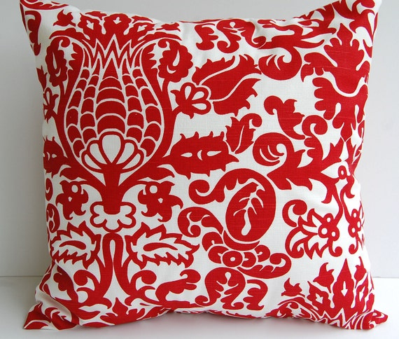 Red Throw Pillows Etsy : Red throw pillow cover one decorative pillow cover red and