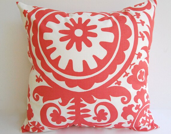 Etsy White Throw Pillow : Items similar to Coral throw pillow cover one 20
