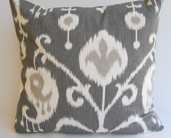 "Ikat decorative throw pillow cover one 20"" x 20"" in Pewter gray pillow cover gray cushion cover gray pillows"