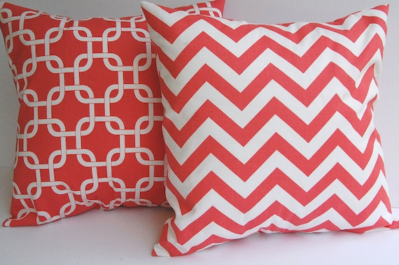 Coral pillow covers set of two coral and white zig zag chevron stripe and Gotcha links pillow shams cushion covers