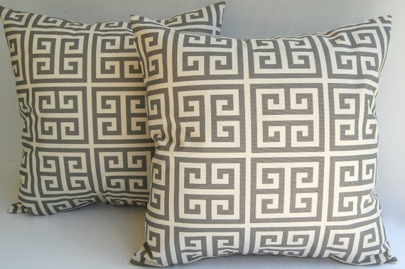 Gray and natural throw pillow covers set of two Greek Key pattern pillow shams cushion covers