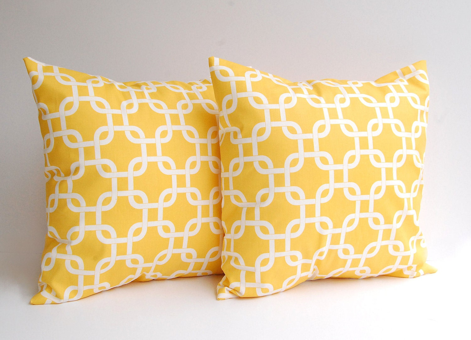 Decorative Pillow Yellow : Yellow throw pillows set of two 18 x 18 inches by ThePillowPeople