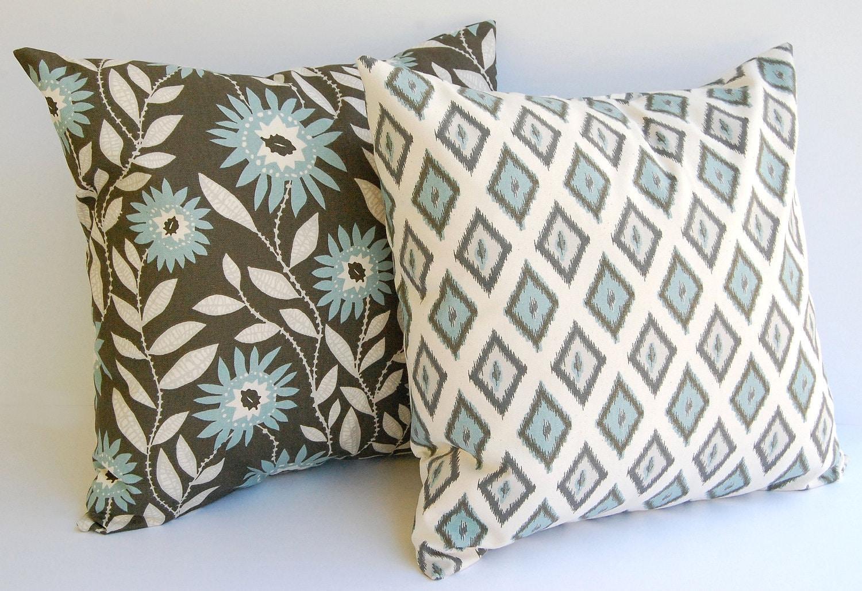 Smokey Blue Throw Pillows : Throw pillows covers set of two 20 x 20 Dark Taupe and Smokey