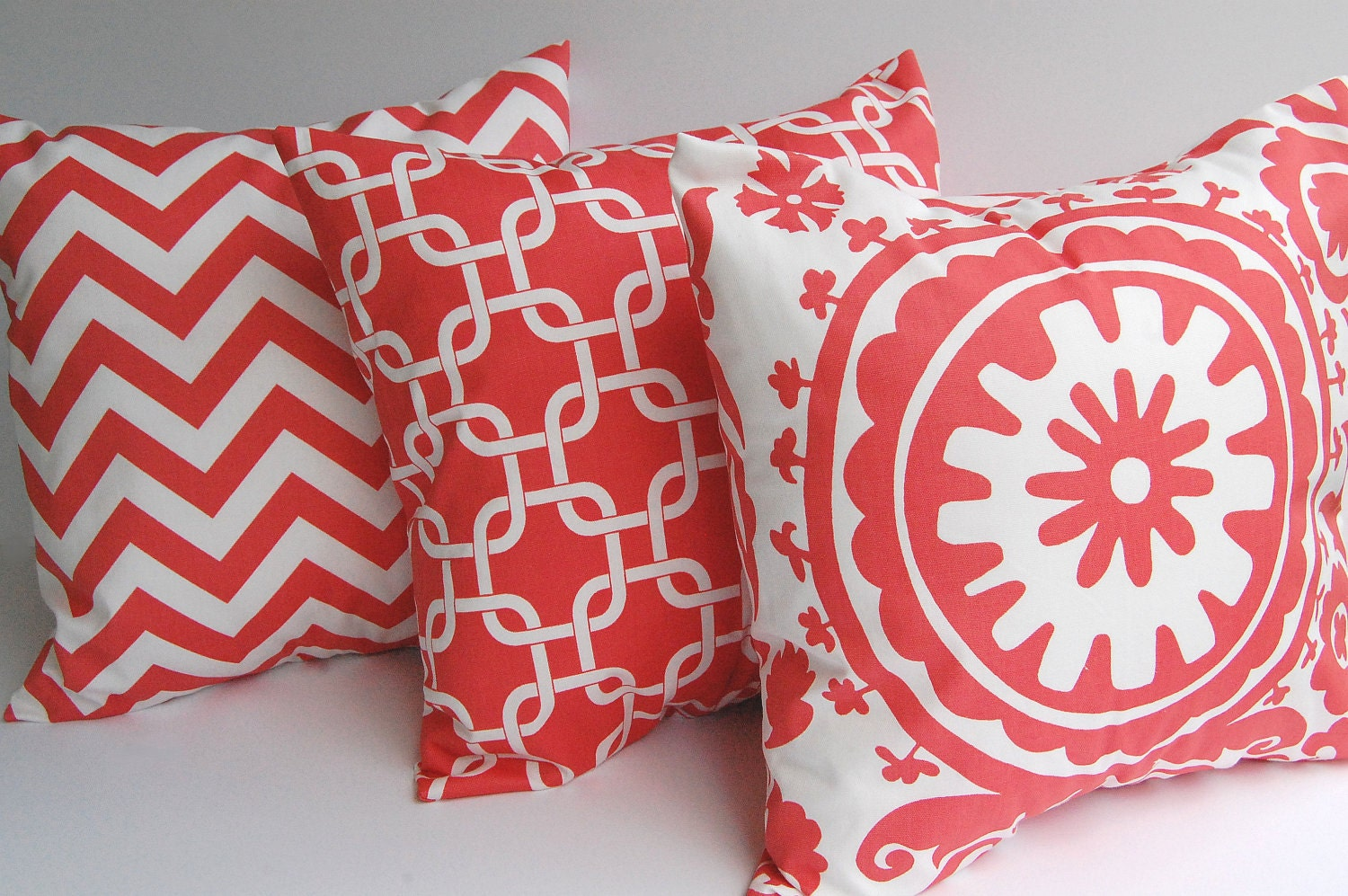 Throw Pillow Covers Set : Coral chevron throw pillow covers set of three coral and