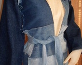 Patchwork Denim Jacket/Robe, Made From Recycled Jeans---Now With Reduced Price