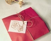12 Cherry Blossom Gift Bags Red Pink Sakura Branches Hand Stamped Asian Gift Wrap