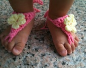 Crochet Barefoot Pink and Yellow Flower Sandals - Infant Toddler Cute