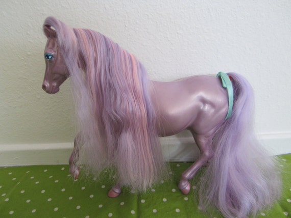 Lady Lovely Locks Silky Mane Purple Toy Horse 1980s