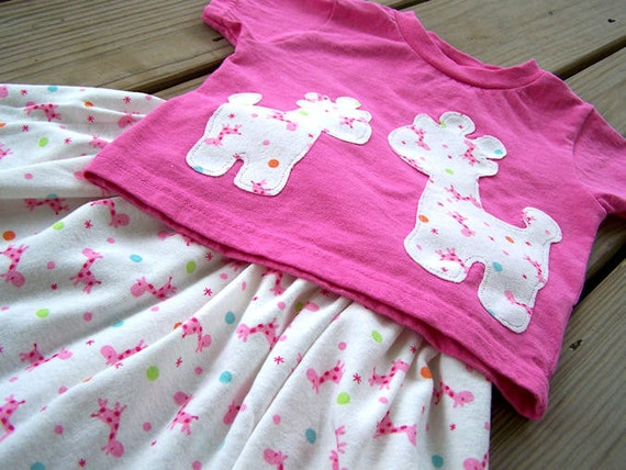 Giraffe Shirt - Skirt Set - Gumball Giraffe Applique Tee - Toddler Yoga Skirt - 2T