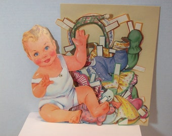 "Listing edited - Squeeky   Baby paper doll - ""I'm a Big Cry Baby"" by Lowe  no 2719 from 1957 rare"