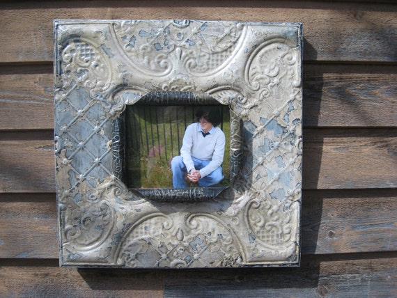 Huge 8 x 10 distressed antiqued white tin ceiling tile picture frame