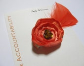 Hair Flower Clip with Feathers: LDS Young Women Value -- Choice and Accountability