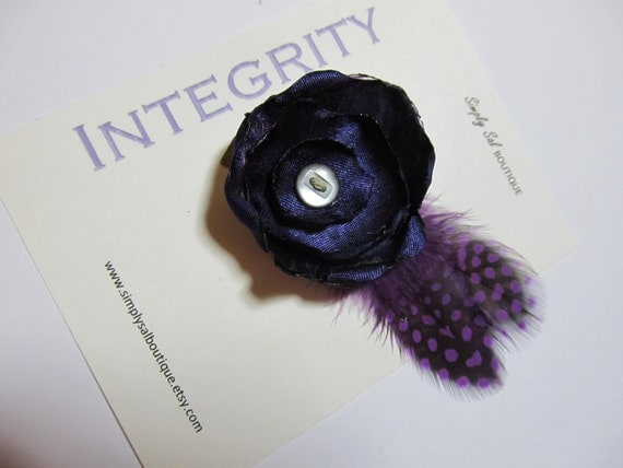 Hair Flower Clip With Feathers: LDS Young Women Value -- Integrity