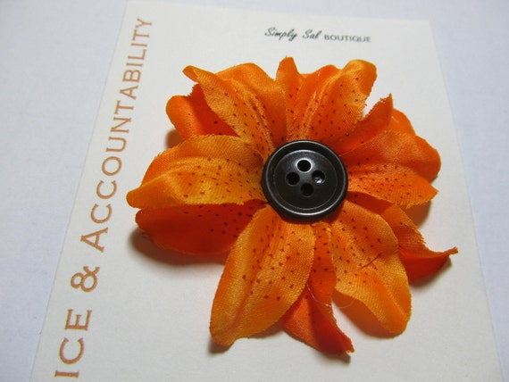 Hair Flower Clip: LDS Young Women Value -- Choice and Accountability -- Orange Tiger Lily