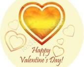 "Valentines Day Heart Stickers - Sheet of 20 - 2"" round"