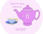 """Teapot & Teacup Tea Party Stickers - Sheet of 20 - 2"""" round"""