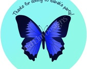 """Butterfly Stickers - Sheet of 20 - 2"""" round.  Butterfly Zoo Birthday Party Favors"""