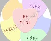 "Valentine Candy Heart Stickers - Sheet of 20 - 2"" round"