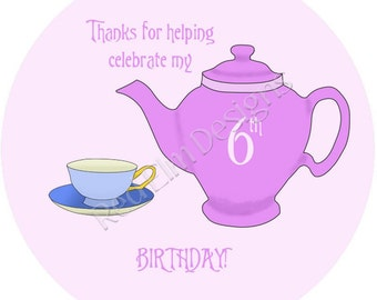 "Teapot & Teacup Tea Party Stickers - Sheet of 20 - 2"" round.  Teacup Birthday Party Favors.  2 Inch Round Tea Party Stickers"