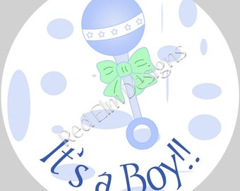"It's a Boy Baby Rattle stickers - Sheet of 20 - 2"" round.  Baby Show Party Favors.  Baby Shower Stickers.  2 Inch Round Baby Stickers"