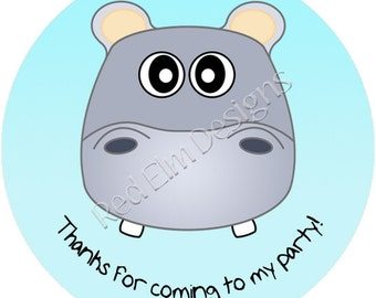 """Hippo Stickers - Sheet of 20 - 2"""" round.  Hippo Zoo Birthday Party Favors.  2 Inch Round Hippo Stickers"""