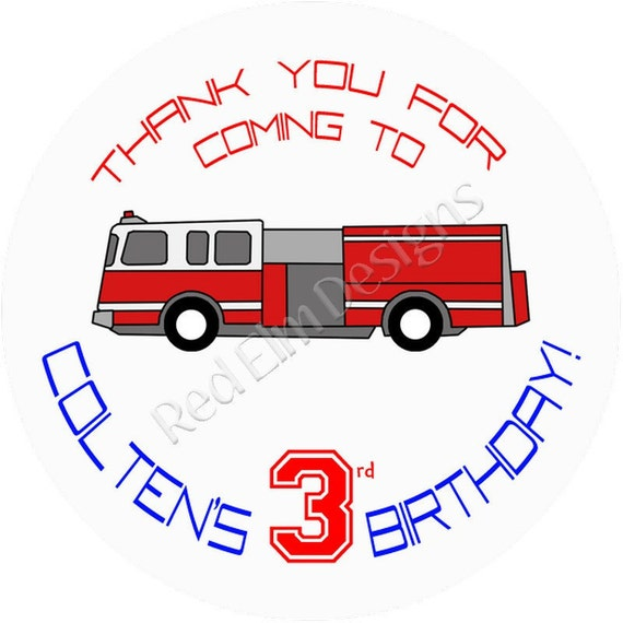 """Fire Truck Birthday Stickers - Sheet of 20 - 2"""" round.  Fire Truck Birthday Party Favors"""