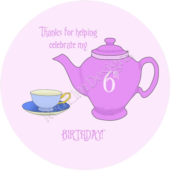 """Teapot & Teacup Tea Party Stickers - Sheet of 20 - 2"""" round.  Teacup Birthday Party Favors.  2 Inch Round Tea Party Stickers"""