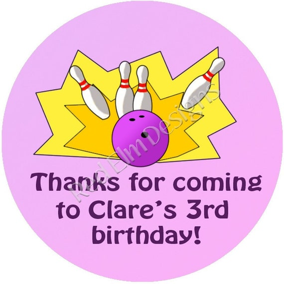 """Bowling (pink) Birthday Stickers - Sheet of 20 - 2"""" round.  Bowling Birthday Party Favors.  2 Inch Round Bowling Stickers"""