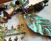 RESERVED FOR SUSAN.  Treasures From My Nature Walk assemblage necklace with verdigris leaves, stones, ribbon and pottery by Anvil Artifacts