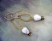 The Clouds Roll By spotted white agate earrings by Anvil Artifacts