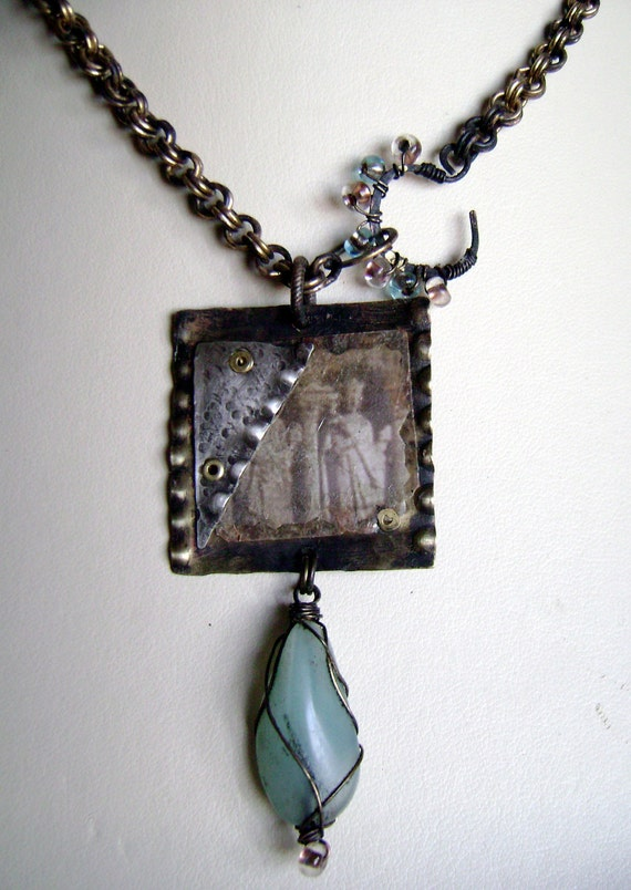 Ruins Of Pompeii- Sterling Silver with Brass, Mica and Photo cold connected necklace by Anvil Artifacts