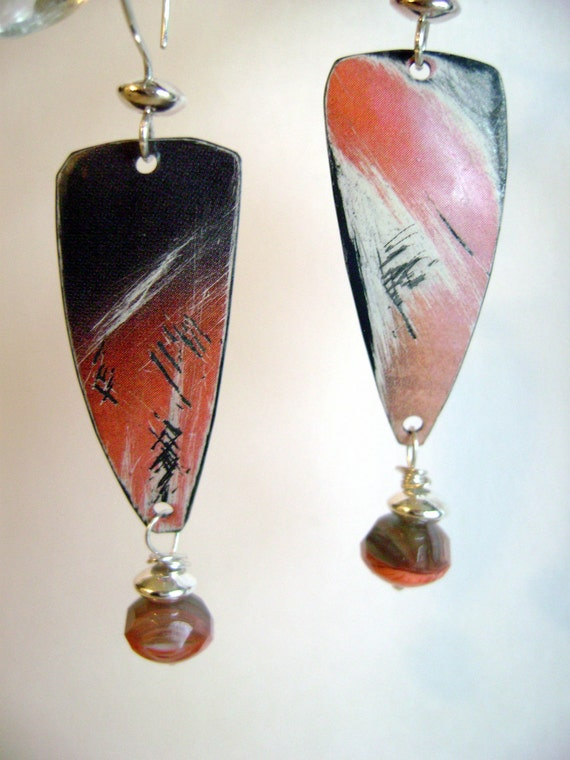 Recycled Tin and Sterling Silver earrings with czech glass by Anvil Artifacts