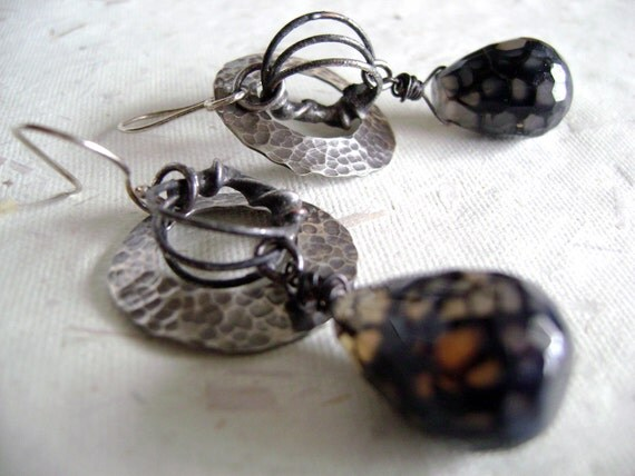 """Sterling Silver with black fire agate """"Black Hole Nearest the Moon"""" earrings by Anvil Artifacts"""