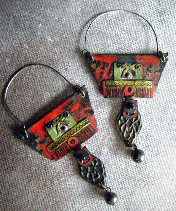 Dreaming of Morocco recycled tin assemblage earrings by Anvil Artifacts