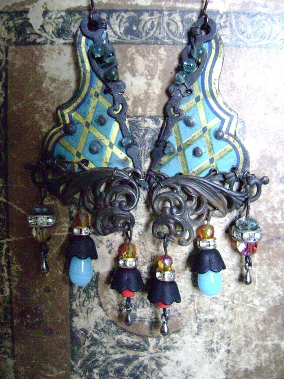 RESERVED FOR SUSAN Dance of the Blue Gypsy recycled tin  Assemblage earrings by Anvil Artifacts