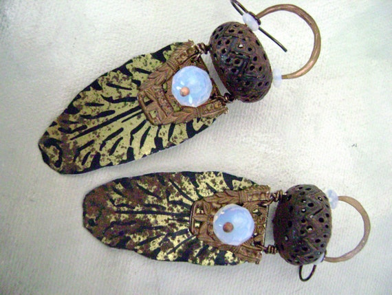 The Handmaidens Treasure recycled tin assemblage earrings by Anvil Artifacts