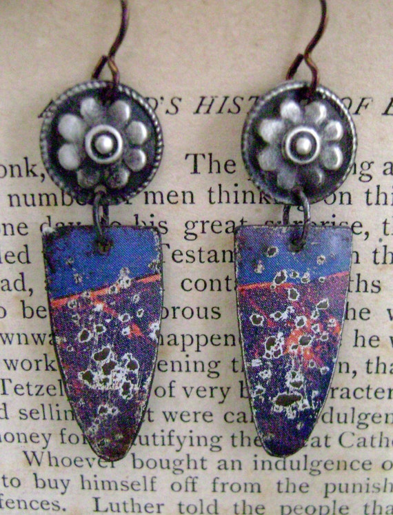 Blue Skies Above the Ebbing Red Tide recycled tin earrings by Anvil Artifacts