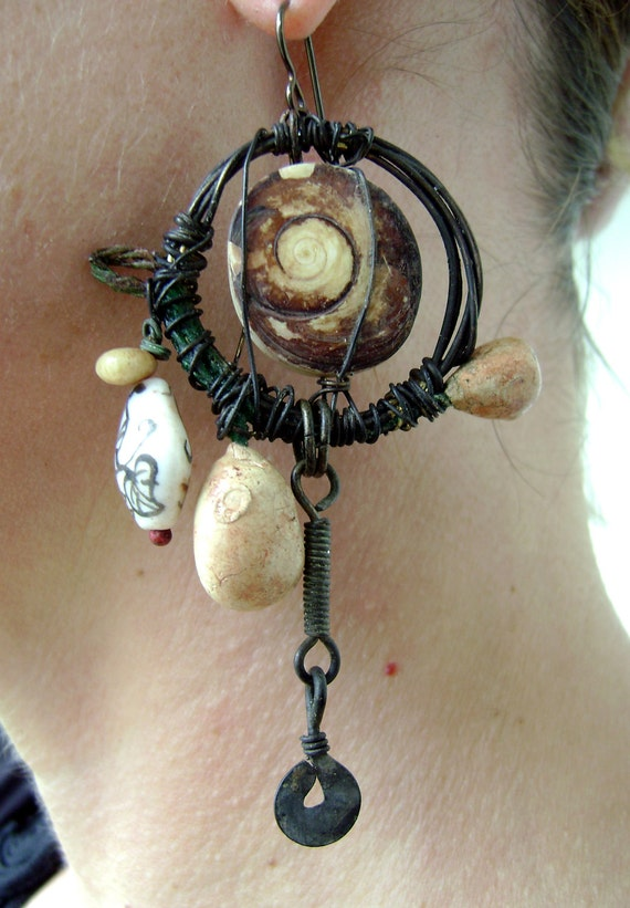 Rustic, Oxidized Fossil Seashell Whirlwind Hoop Earrings by Anvil Artifacts