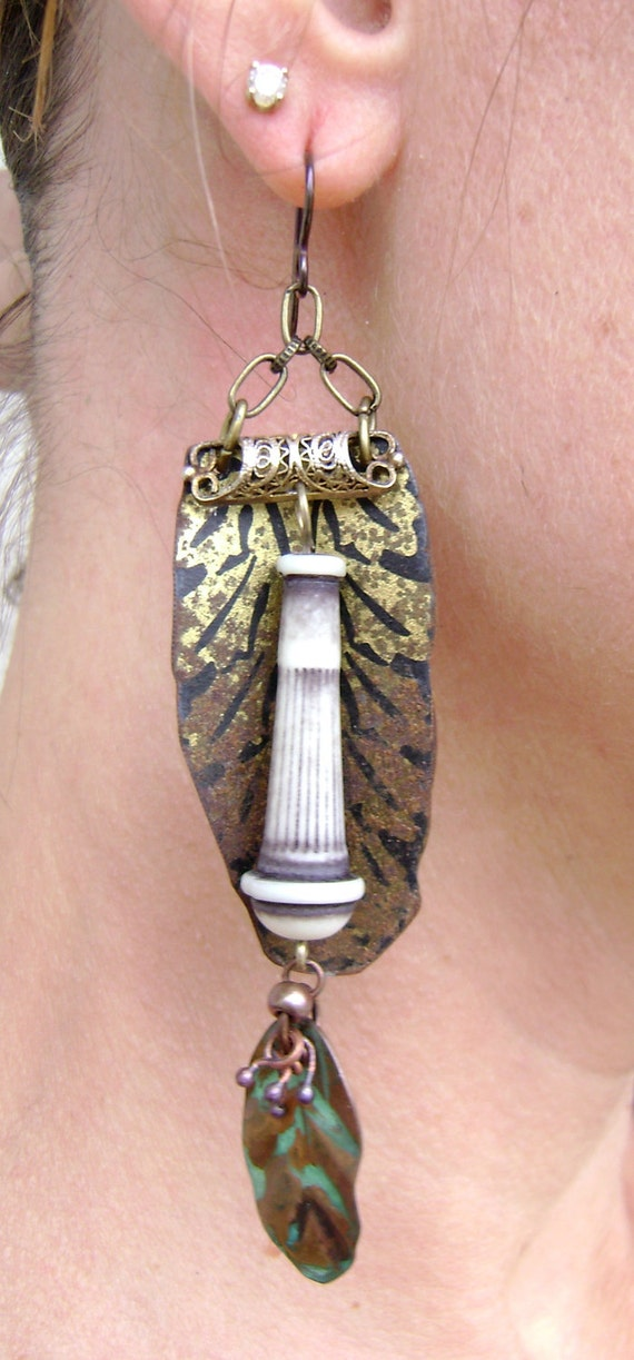 Pillars of Pompeii recycled tin assemblage earrings by Anvil Artifacts