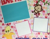 """12 x 12  Premade Custom """"Love at First Sight"""" Scrapbook Page"""