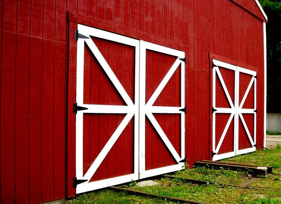 Rustic Decor Red Photography Barn Doors Photo 5x7 Signed Print