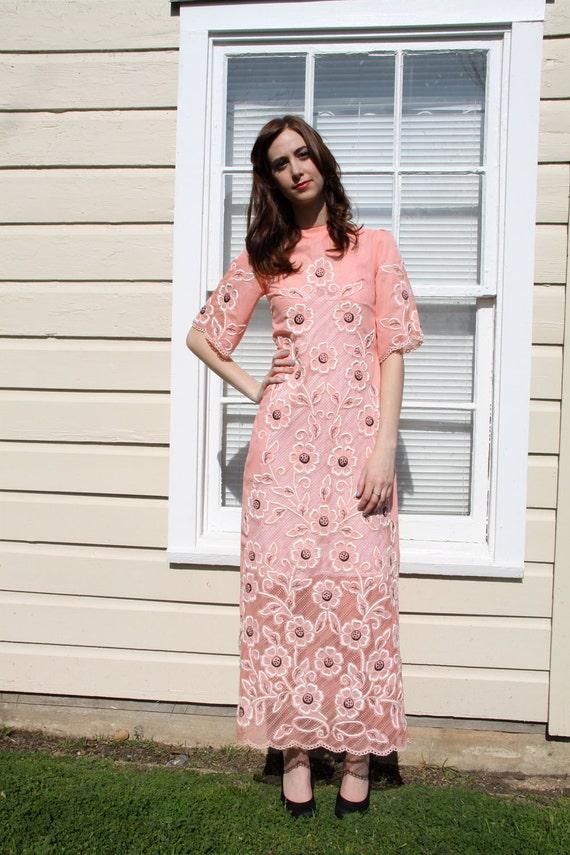 Vintage 1970's long handmade floral dress S M