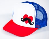 Red White and Blue Love Handle Clothing Hat - Red Heart White Stache