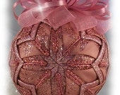Blush Brilliance Rose Pink Glitter Unique Handmade Keepsake Quilted Christmas Ornament