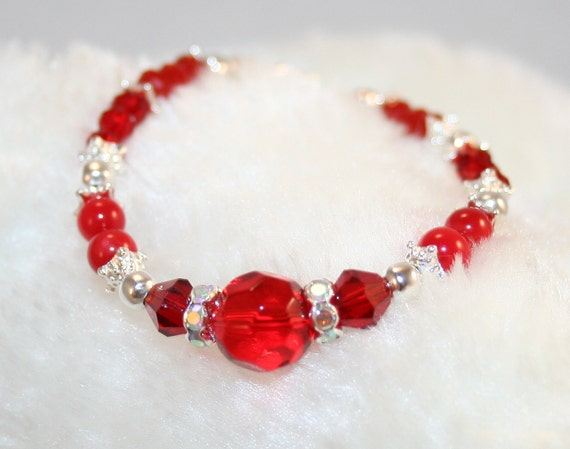 Little Girls Beautiful Red Crystal Bracelet