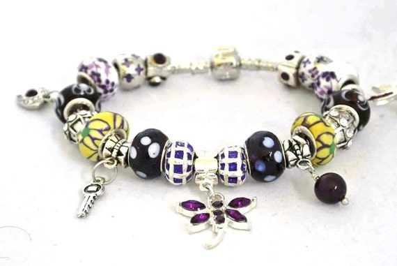 Charm Bracelet PRETTY PURPLE European Style Charm Bracelet