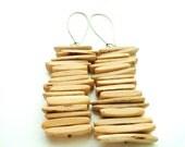 Wood Flat Chip Beaded Dangle Earrings